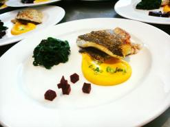 Barramundi Filet with Cold Carrots Purée and Italian Spinach