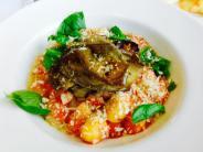 Gnocchi with Tomato Sauce, Basil and Mozzarella