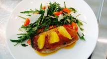 Grilled Duck Breast with Orange Sauce, Rocket Salad, Beetroot, Cherry Tomato & Shaved Parmesan