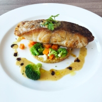 Barramundi with Cous Cous and Green Vegetable Salad