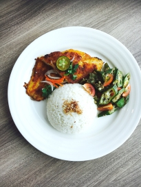 Indonesian Grilled Fish with Sautéed Okra, Tomatoes and Rice