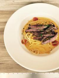 Spaghetti with Roasted Beef, Cream Cheese and Spring Vegetables