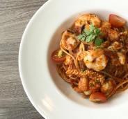 Spaghetti with Spicy Arrabbiata Sauce & Seafood