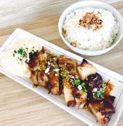 Teriyaki Chicken with Japanese Rice and Coleslaw