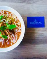 Assam Laksa with Rice Noodles & White Bait Fish