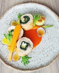 chicken roulade with auricchio cheese