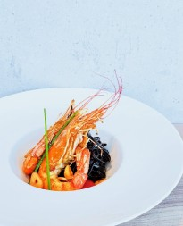 Squid Ink Pasta with Argentinian Red Prawns